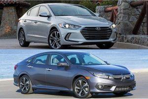 Hình ảnh mẫu xe sedan hạng C Hyundai Elantra và Honda Civic